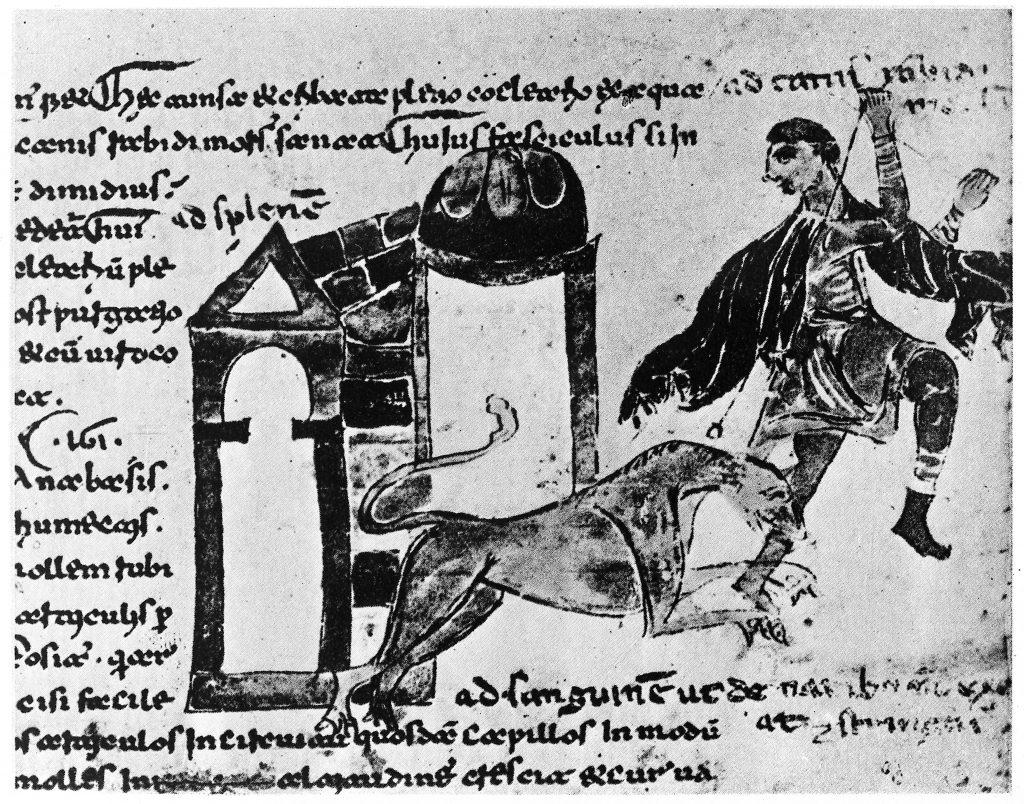 Mann, gebissen von einem Hund (12. Jahrhundert)